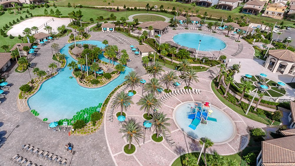 Arched Waterspouts And A Waterfall At Oasis Orlando Resort Championsgate In We Also Built Children Splash Zone Circular Lagoon Pool